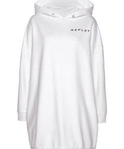 Replay Sweatkleid mit markantem Logo-Print am hinteren Saum weiß