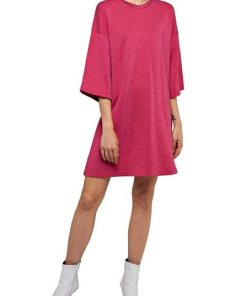 Replay Sweatkleid im Lurex-Style mit großem Label-Print rot