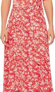 TOMMY HILFIGER Wickelkleid »LEONORA WRAP DRESS LS« Allover Blumen-Druck orange