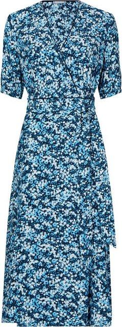 TOMMY HILFIGER Wickelkleid »LEONORA WRAP DRESS LS« Allover Blumen-Druck blau