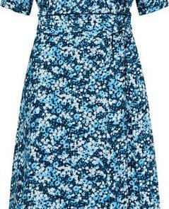 TOMMY HILFIGER Wickelkleid »LEONORA WRAP DRESS LS« Allover Blumen-Druck blau
