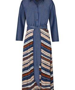 Daniel Hechter Modernes Blusenkleid mit Bindegürtel blau