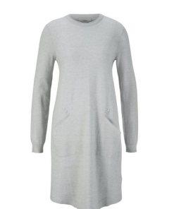 heine CASUAL Strickkleid mit Zierknöpfen grau