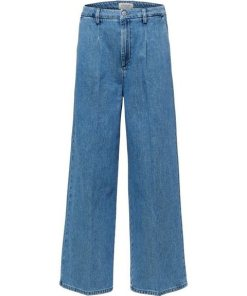 SELECTED FEMME Weite Mid Waist Cropped Jeans blau
