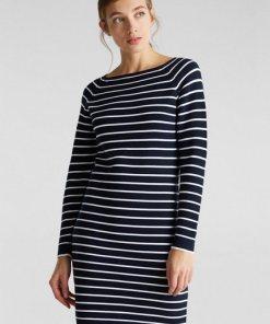 Esprit Strick-Kleid mit Streifen  100% Baumwolle blau