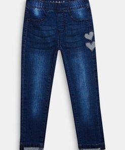 Esprit Stretch-Jeans mit Herzen und Gummizugbund blau