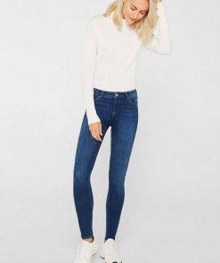 Esprit Stretch-Jeans mit Washed-Effekten blau