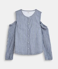 Esprit Bluse mit Cut-Out-Schulter  100% Baumwolle blau