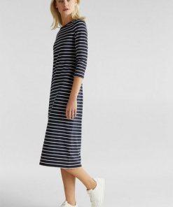 Esprit Midi-Kleid aus Jersey-Stretch blau