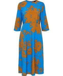 SELECTED FEMME Florales Midikleid blau