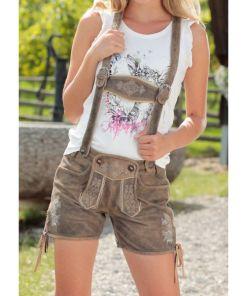 Almsach Trachtenlederhose kurz Damen mit Stickerei