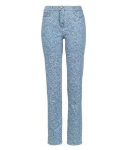 Avena Damen Stretch-Jeans Blau geblümt
