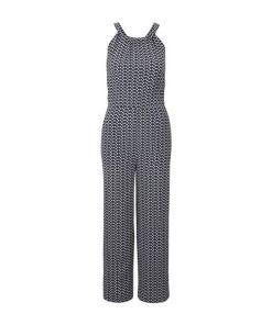 TOM TAILOR Damen Neckholder Jumpsuit mit weitem Bein, grau, gemustert, Gr.36