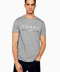 Tommy Jeans Freizeit-T-Shirt, grau, weiß und blau, GRAU