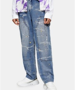 BLAUJaded Carpenter-Jeans mit Farbspritzerdesign, BLAU