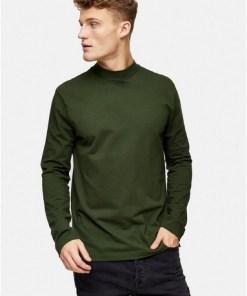 Langärmeliges T-Shirt mit Rollkragen, grün, GRÜN