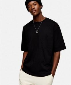 T-Shirt aus Biobaumwolle mit rechteckiger Tasche, schwarz, SCHWARZ