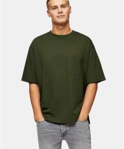 T-Shirt aus Biobaumwolle mit rechteckiger Tasche, khaki, KHAKI