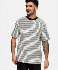 GRAUOversize T-Shirt mit Streifen, schwarz und weiß, GRAU