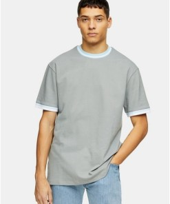 Piqué-T-Shirt mit Kontraststreifen, grau, GRAU
