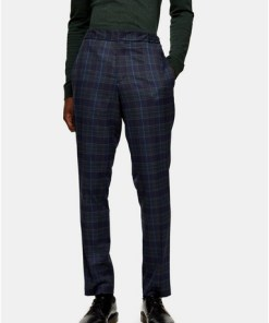 BLAUSelected Homme Hose in schmaler Passform mit Karomuster, BLAU