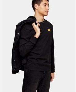 Levi's T-Shirt mit grafischen Ärmeln, schwarz, SCHWARZ