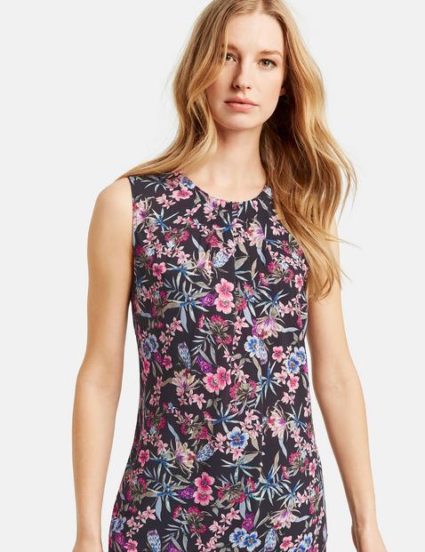 Ärmellose Bluse mit Blumen-Print Mehrfarbig 34/XS
