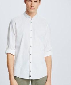 Baumwoll-Leinen-Hemd Conell, weiß