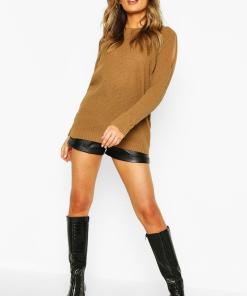 Womens Cold-Shoulder-Pulloverkleid Im Perlmuster - Kamelhaarfarben - S, Kamelhaarfarben