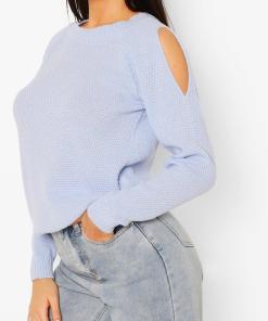 Womens Cold-Shoulder-Pulloverkleid Im Perlmuster - Pastel Blue - S, Pastel Blue