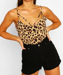 Womens Leopard Print Cut Out Cami Top - Brown - 32, Brown