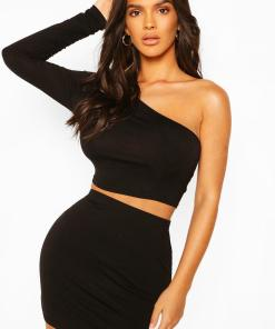 Womens One-Shoulder Crop Top - Schwarz - 42, Schwarz