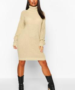Womens Petite Pulloverkleid Mit Rollkragen - Graubraun - L, Graubraun