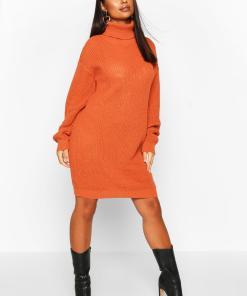 Womens Petite Pulloverkleid Mit Rollkragen - Karamell - L, Karamell