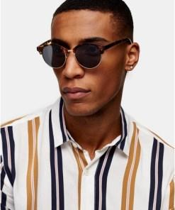 BRAUNSonnenbrille mit runden Gläsern und Schildpattdesign, BRAUN