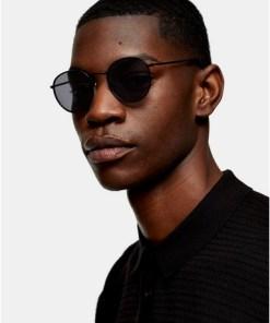 Metallsonnenbrille mit runden Gläsern, schwarz, SCHWARZ