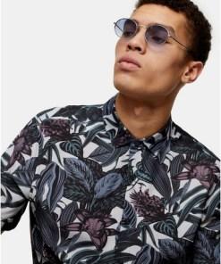 Ovale Sonnenbrille aus Metall, silber, SILBER