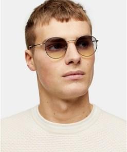 Sonnenbrille mit Metallrahmen und runden Gläsern, gold, GOLD