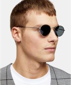 Sonnenbrille mit ovalen Gläsern, silber, SILBER