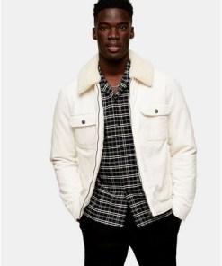 Harrington-Jacke aus Cord, cremeweiß, CREME