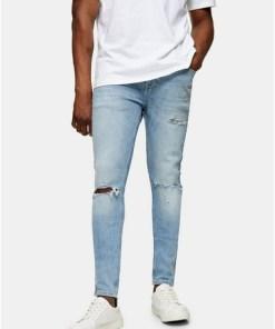 SCHWARZSpray-On Jeans in heller Waschung mit Einrissen, SCHWARZ