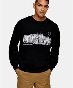 Sweatshirt mit 'Seoul'-Schriftzug, schwarz, SCHWARZ