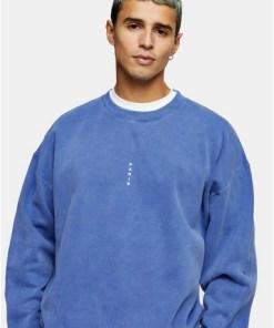 Sweatshirt mit vertikalem 'Paris' Print, blau, BLAU