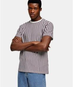 T-Shirt mit Waffelstruktur und Streifen, weiß und pink, WEIß
