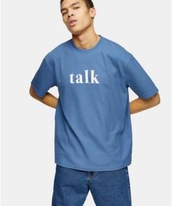 T-Shirt mit 'Talk'-Print, blau, BLAU