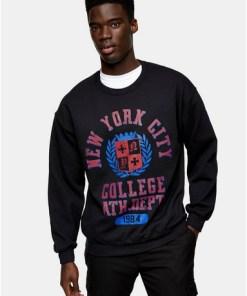 NYC College' Sweatshirt, schwarz, SCHWARZ