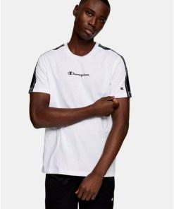 CHAMPION T-Shirt mit kleinem Logo, weiß, WEIß