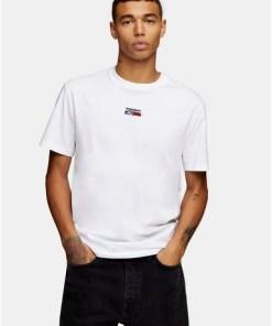 Tommy Jeans T-Shirt mit Logo in der Mitte, weiß, WEIß
