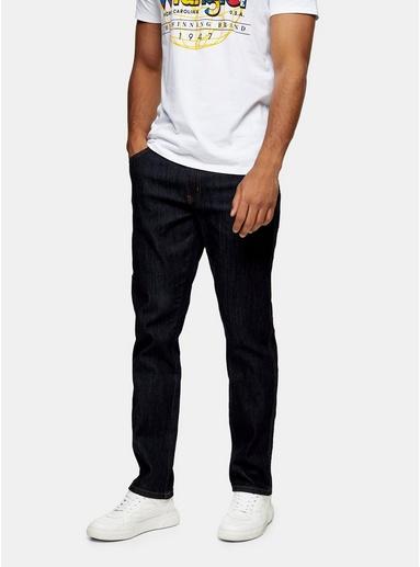 BLAUWRANGLER Texas Slim Jeans in dunkler Rinse-Waschung, BLAU