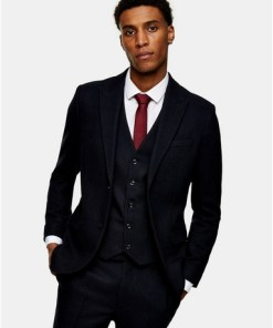 NAVY BLAUNavy Herringbone Single Breasted Skinny Suit Blazer With Peak Lapels, NAVY BLAU